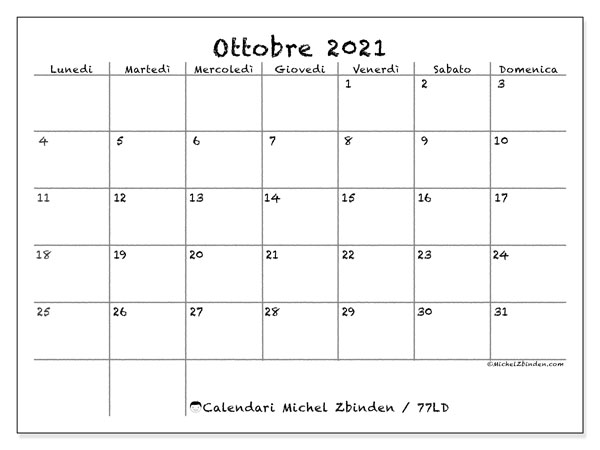 "Calendario ""77LD"" ottobre 2021 da stampare   Michel Zbinden IT"
