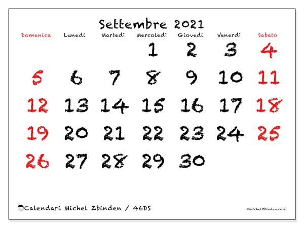 """Calendario """"46DS"""" settembre 2021 da stampare   Michel Zbinden IT"""