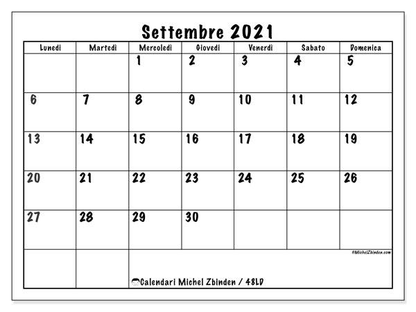 """Calendario """"48LD"""" settembre 2021 da stampare   Michel Zbinden IT"""