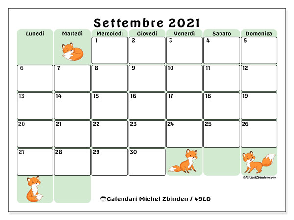 """Calendario """"49LD"""" settembre 2021 da stampare   Michel Zbinden IT"""