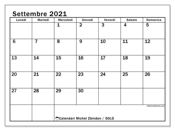 Calendario settembre 2021, 50LD. Calendario per la stampa gratis.