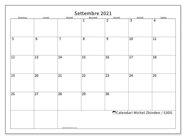 Calendario settembre 2021, 53DS. Orario da stampare gratis.