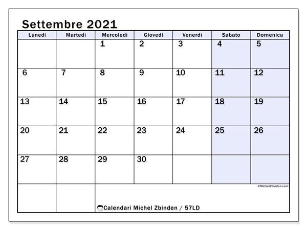 Calendario settembre 2021, 57LD. Calendario per la stampa gratis.