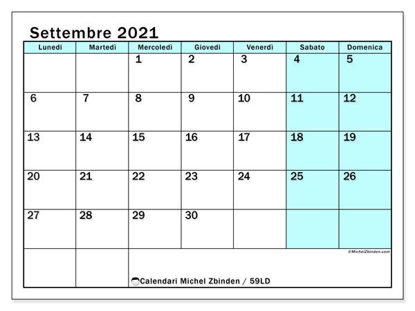 Calendario settembre 2021   59LD   Michel Zbinden IT