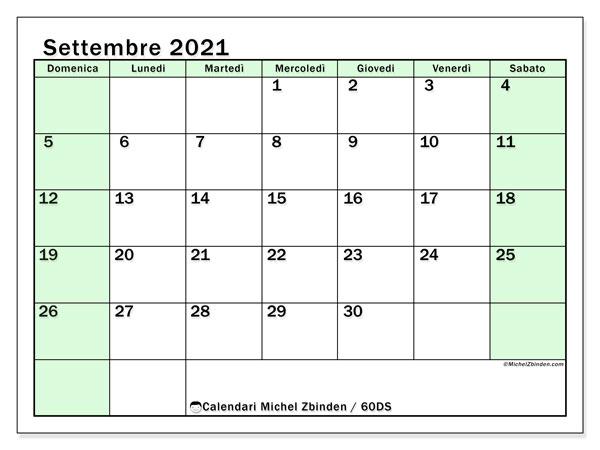 Calendario settembre 2021, 60DS. Calendario mensile da stampare gratuitamente.