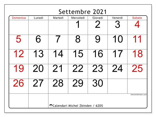 """Calendario """"62DS"""" settembre 2021 da stampare   Michel Zbinden IT"""
