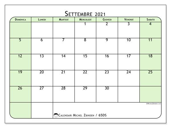 Calendario settembre 2021, 65DS. Calendario gratuito da stampare.
