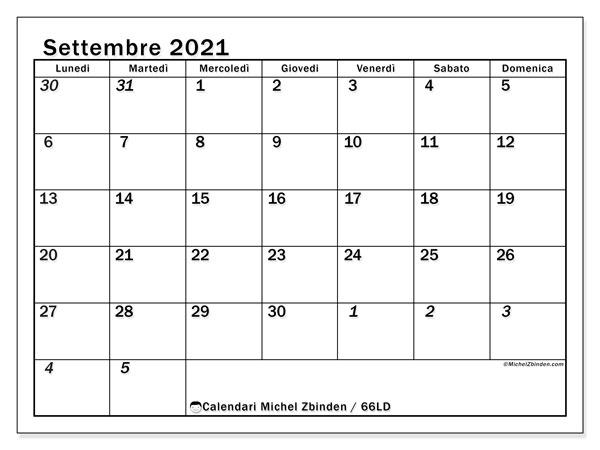 Calendario settembre 2021, 66LD. Calendario stampabile gratuito.