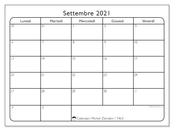 Calendario settembre 2021, 74LD. Calendario per il mese da stampare gratuitamente.