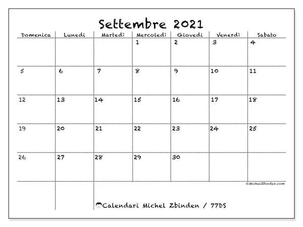 Calendario settembre 2021, 77DS. Calendario per la stampa gratis.
