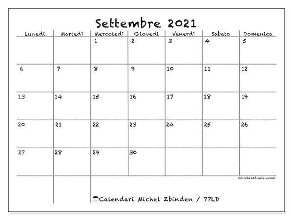 """Calendario """"77LD"""" settembre 2021 da stampare   Michel Zbinden IT"""