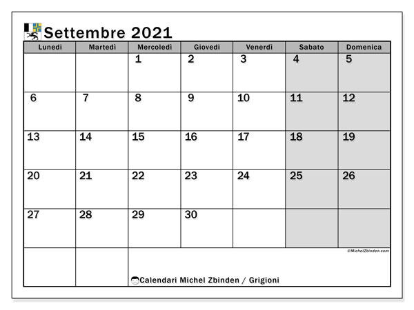 Calendario settembre 2021, con giorni festivi dei Grigioni. Calendario Vacanze e festività per stampare gratuitamente.