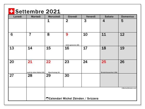 Calendario settembre 2021, con giorni festivi della Svizzera. Calendario Vacanze e festività per stampare gratuitamente.