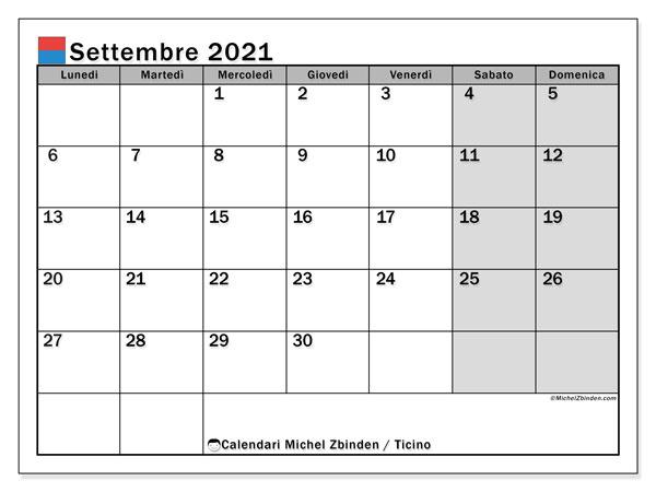 Calendario settembre 2021, con giorni festivi in Ticino. Calendario da stampare gratuita con giorni festivi.