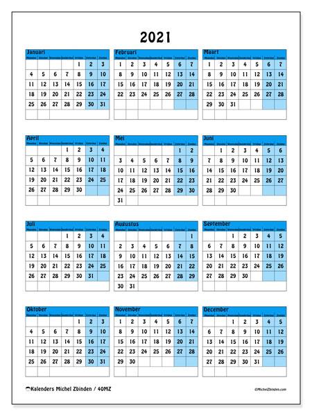 Kalender 2021, 40MZ. Kalender om gratis te printen.