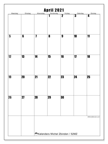 Kalender april 2021, 52MZ. Gratis printbare kalender.