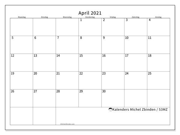 Kalender april 2021, 53MZ. Kalender om gratis te printen.