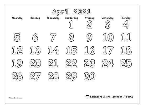 Kalender april 2021, 56MZ. Gratis kalender om af te drukken.
