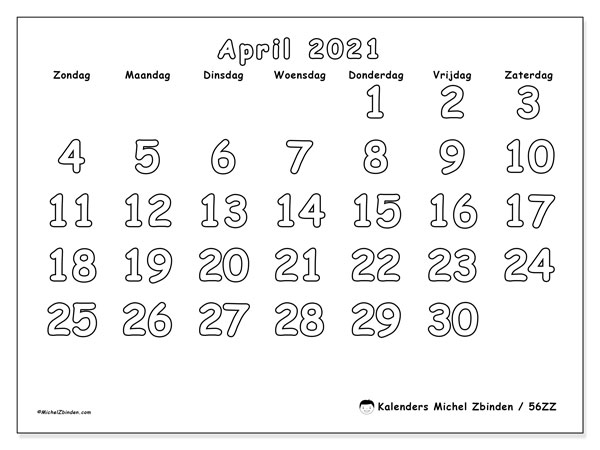 Kalender april 2021, 56ZZ. Kalender om gratis te printen.