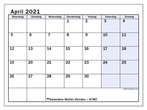 Kalender april 2021, 57MZ. Kalender voor de maand die gratis moet worden afgedrukt.