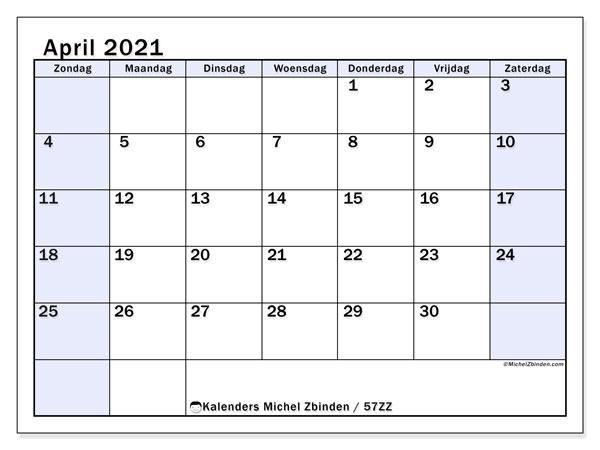 Kalender april 2021, 57ZZ. Kalender voor de maand die gratis moet worden afgedrukt.