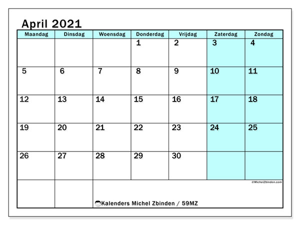 Kalender april 2021, 59MZ. Kalender om gratis te printen.