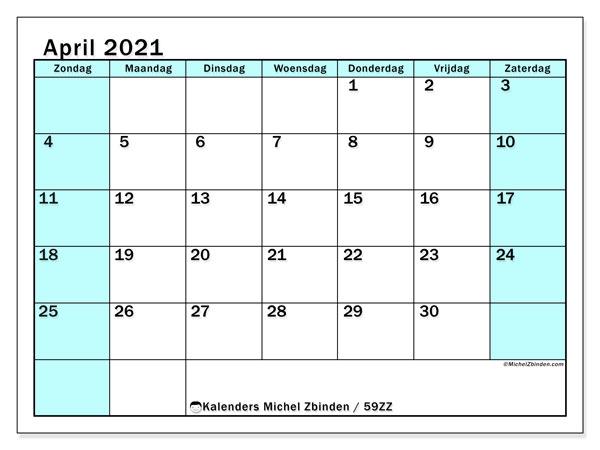 Kalender april 2021, 59ZZ. Gratis kalender om af te drukken.
