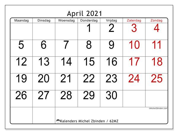 Kalender april 2021, 62MZ. Kalender om gratis af te drukken.
