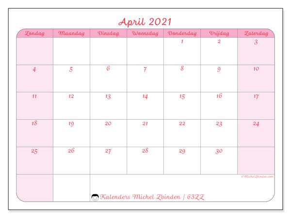Kalender april 2021, 63ZZ. Kalender voor de maand die gratis moet worden afgedrukt.