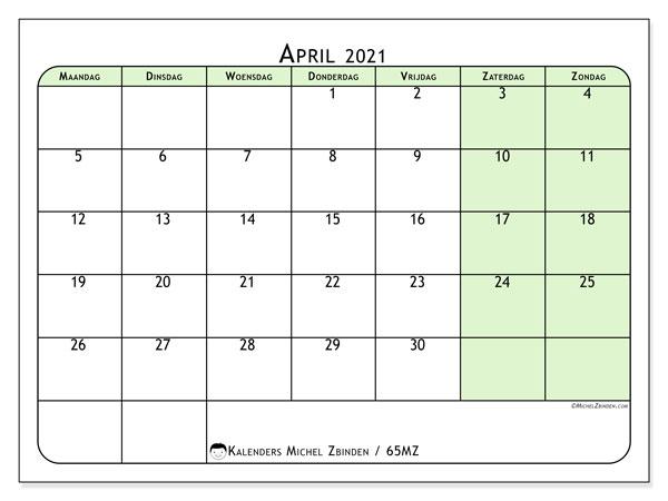 Kalender april 2021, 65MZ. Agenda om gratis te printen.