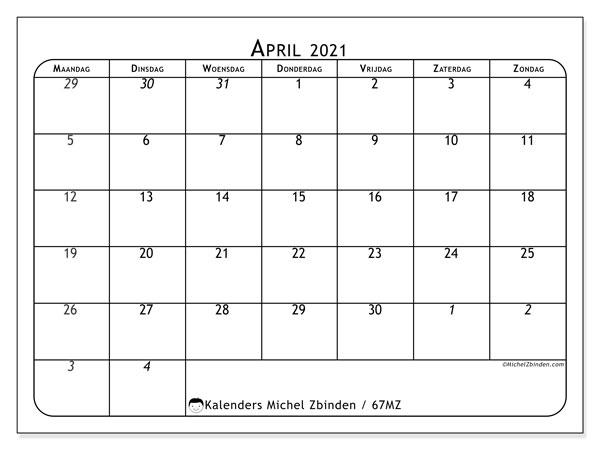 Kalender april 2021, 67MZ. Agenda om gratis te printen.