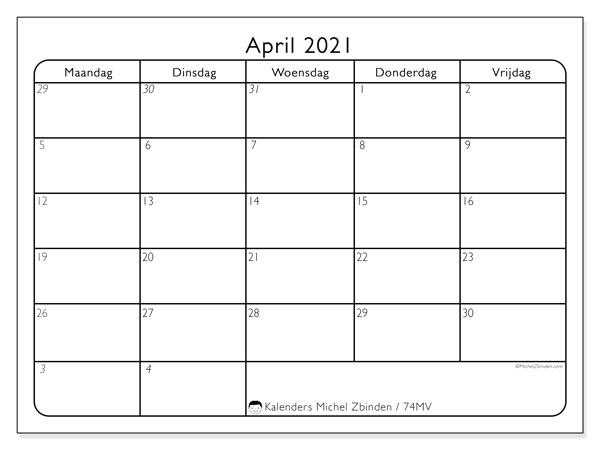 Kalender april 2021, 74ZZ. Maandkalender om gratis te printen.