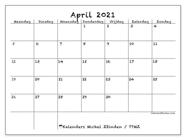 Kalender april 2021, 77MZ. Gratis printbare kalender.