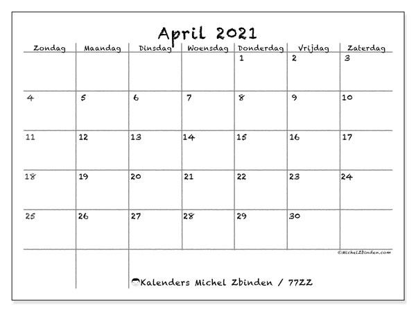 Kalender april 2021, 77ZZ. Gratis afdrukbare kalender.