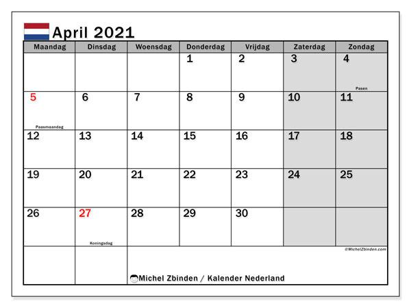 Kalender april 2021, met feestdagen in Nederland. Kalender om gratis te printen met feestdagen.