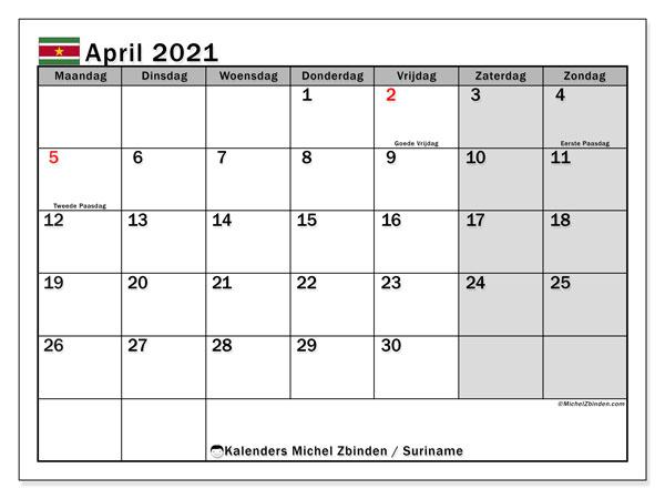 Kalender april 2021, met feestdagen in Suriname. Kalender feestdagen om gratis te printen.