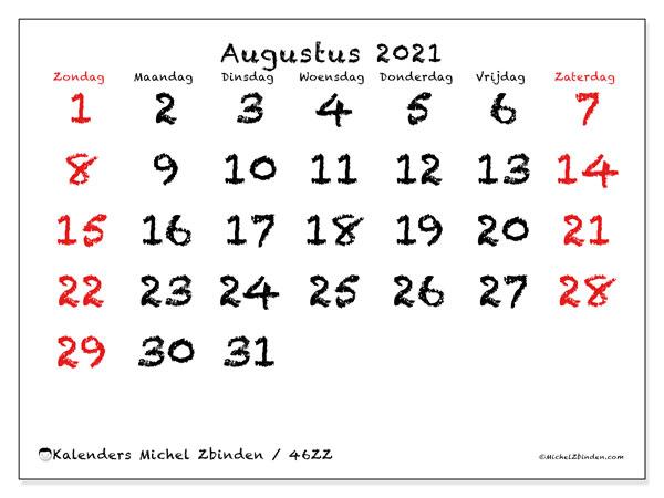 Kalender augustus 2021, 46ZZ. Maandkalender om gratis te printen.
