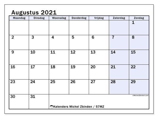 Kalender augustus 2021, 57MZ. Kalender voor de maand die gratis moet worden afgedrukt.