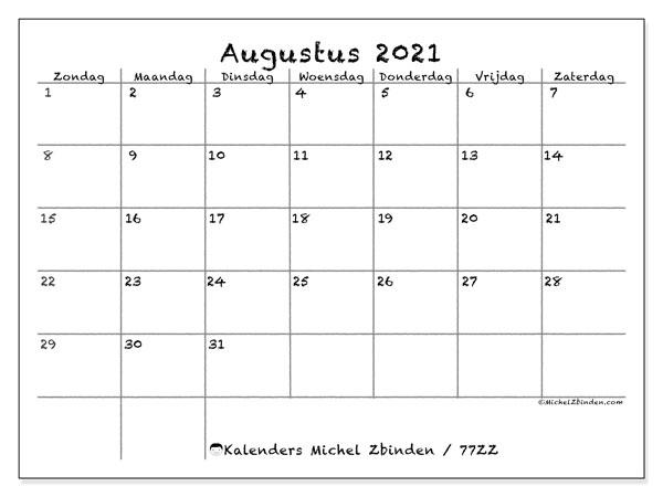 Kalender augustus 2021, 77ZZ. Kalender om gratis te printen.