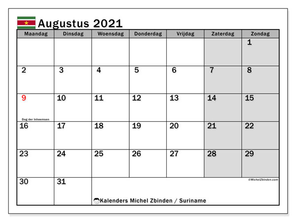 Kalender augustus 2021, met feestdagen in Suriname. Kalender feestdagen om gratis te printen.