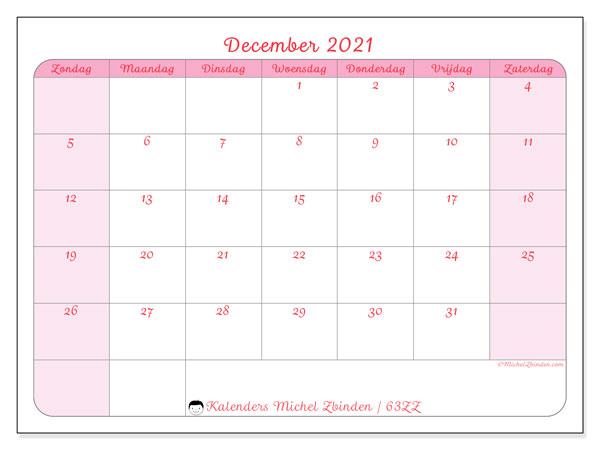 Kalender december 2021, 63ZZ. Gratis kalender om af te drukken.