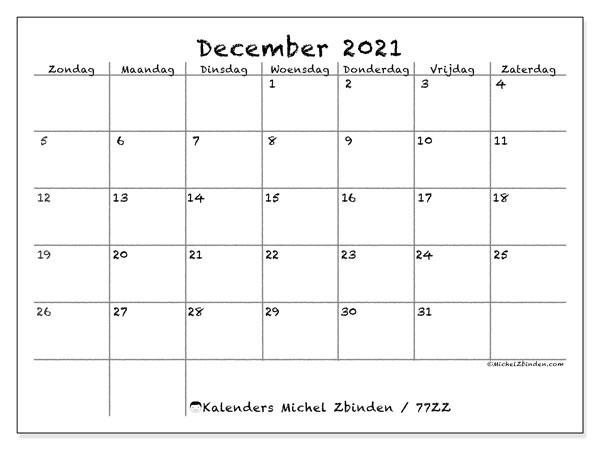 Kalender december 2021, 77ZZ. Agenda om gratis te printen.