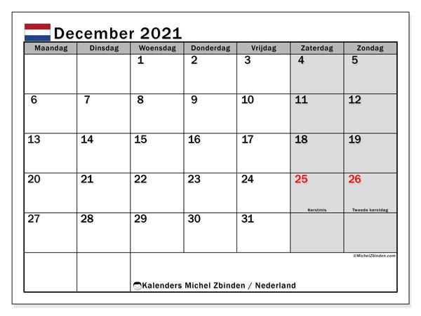 Kalender december 2021, met feestdagen in Nederland. Kalender om gratis te printen met feestdagen.