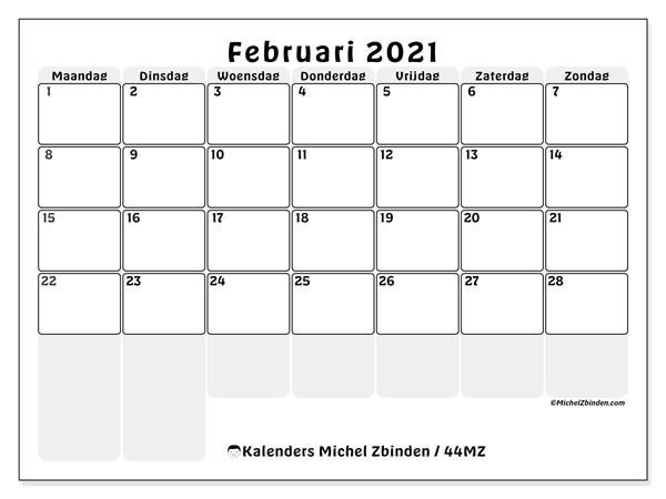 Kalender februari 2021, 44MZ. Kalender voor de maand die gratis moet worden afgedrukt.