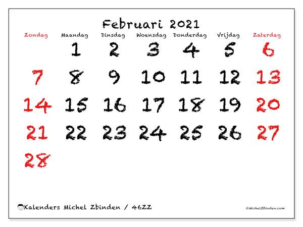 Kalender februari 2021, 46ZZ. Kalender om gratis af te drukken.