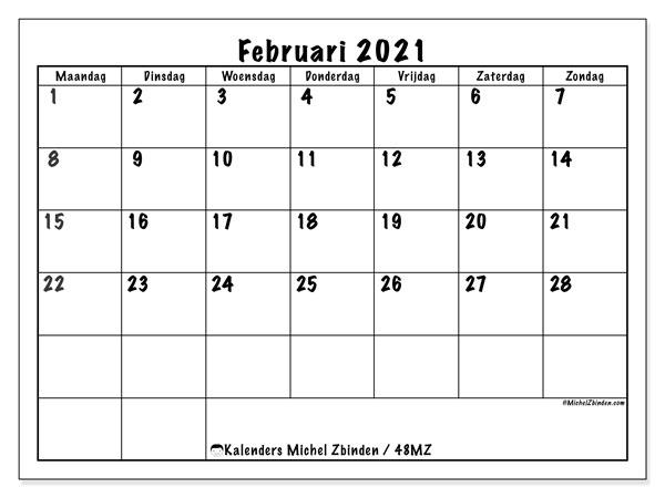 "Kalender ""48MZ"" Februari 2021 om af te drukken - Michel Zbinden NL"