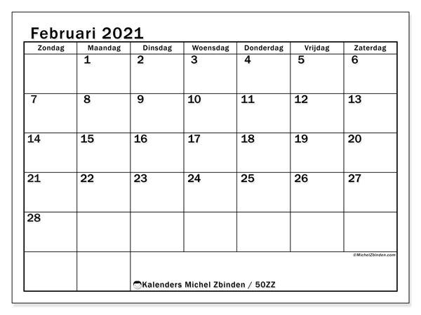 Kalender februari 2021, 50ZZ. Kalender om gratis af te drukken.