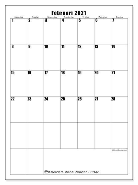 Kalender februari 2021, 52MZ. Kalender voor de maand die gratis moet worden afgedrukt.