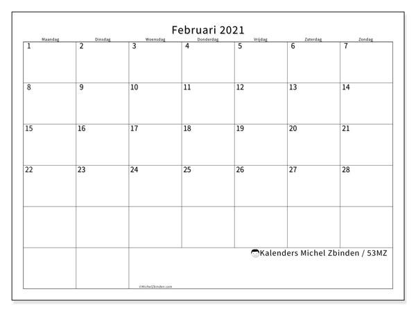Kalender februari 2021, 53MZ. Gratis afdrukbare kalender.