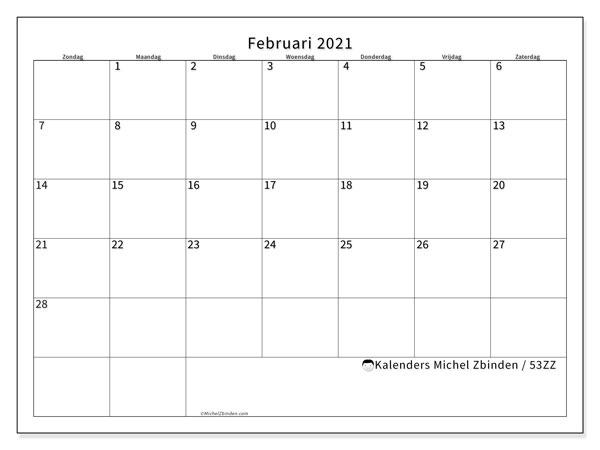 Kalender februari 2021, 53ZZ. Schema om gratis te printen.